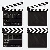 Movie clapperboard. Blank movie clapperboard. Vector.
