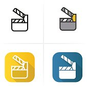 Movie clapperboard icon. Flat design, linear and color styles. Isolated