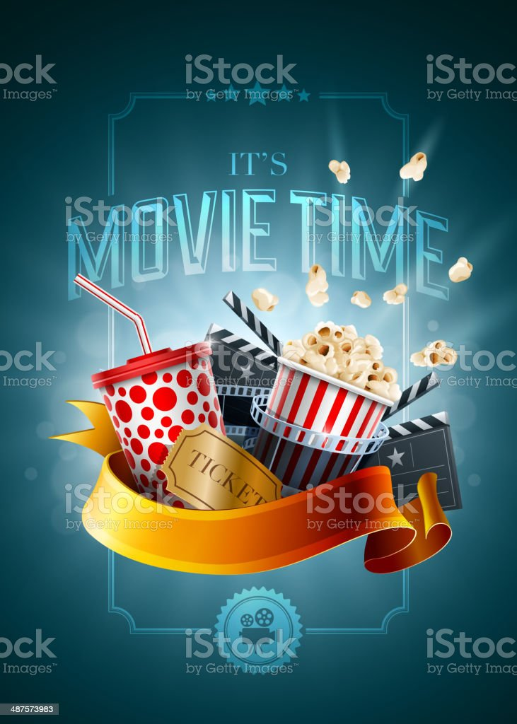 Movie concept poster design template vector art illustration