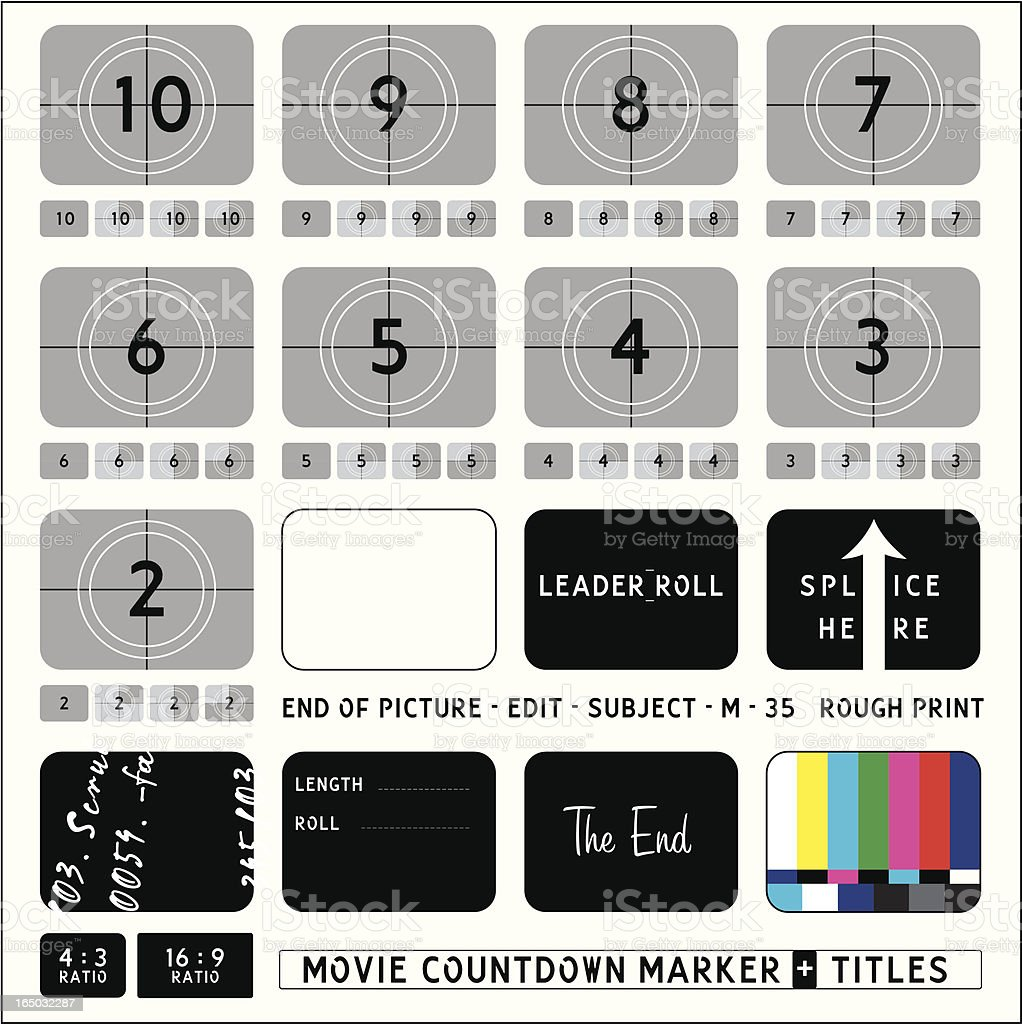 Movie Countdown Markers + Captions vector art illustration