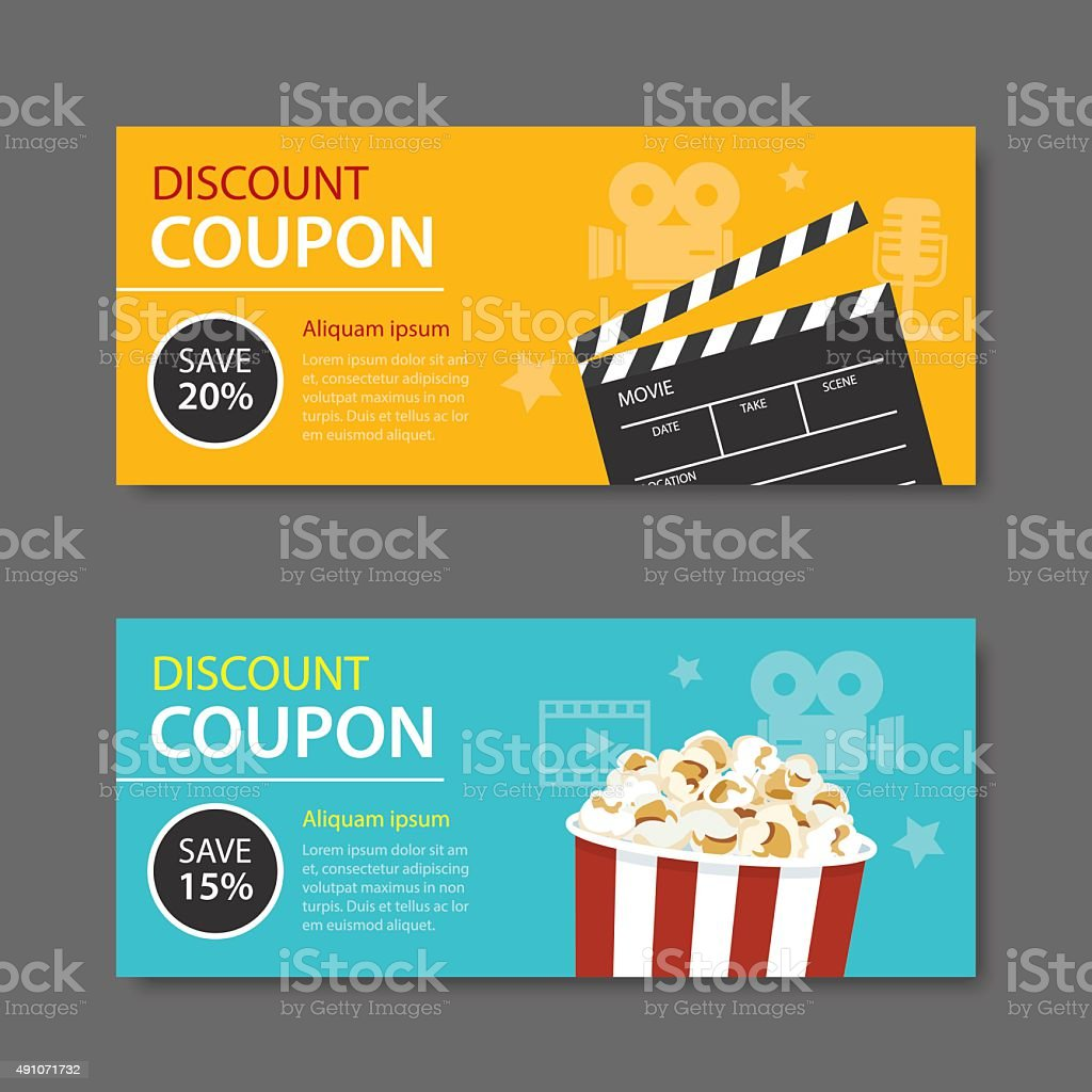 movie coupon flat design vector art illustration