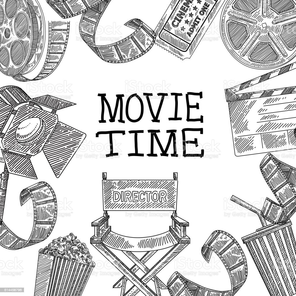 Movie design elements Drawing vector art illustration