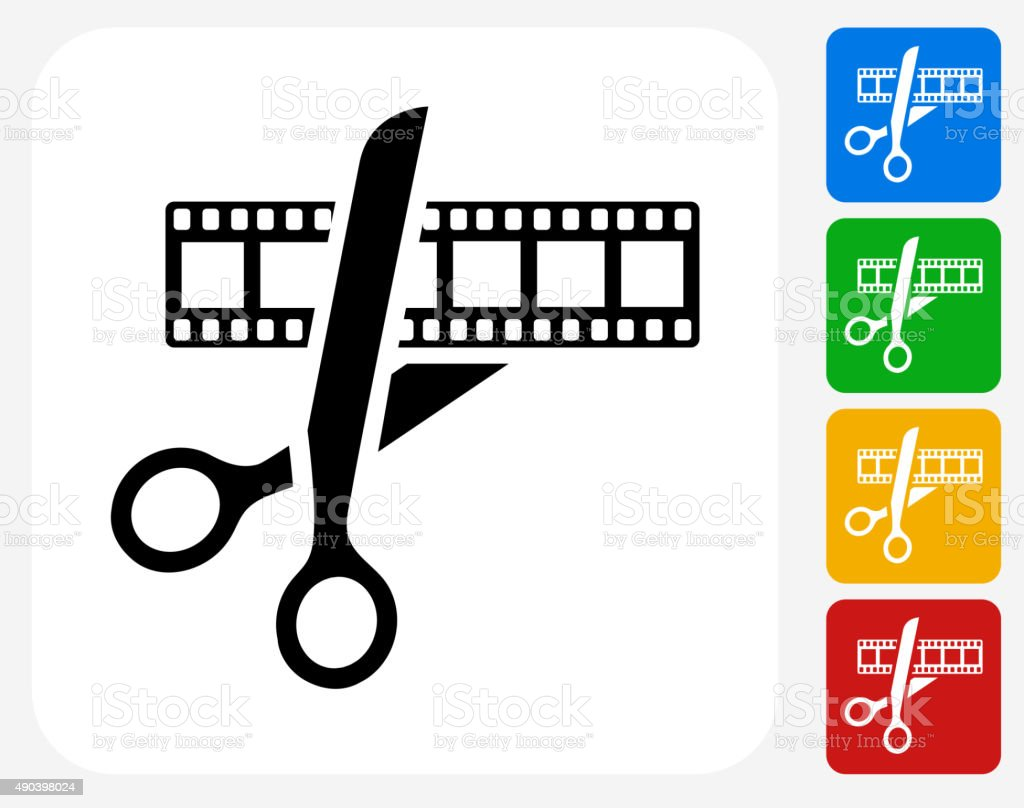 Movie Edit Icon Flat Graphic Design vector art illustration