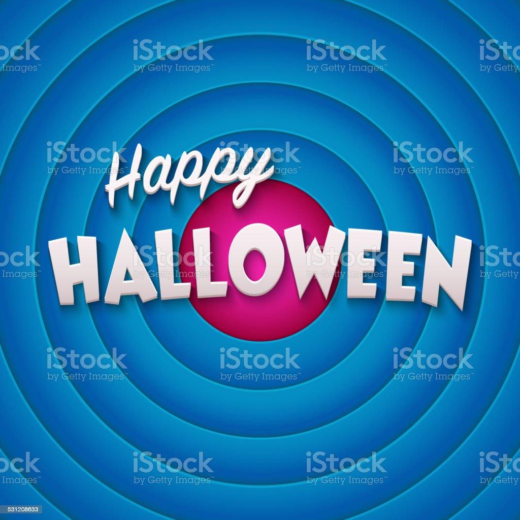 Movie ending screen with Happy Halloween label vector art illustration