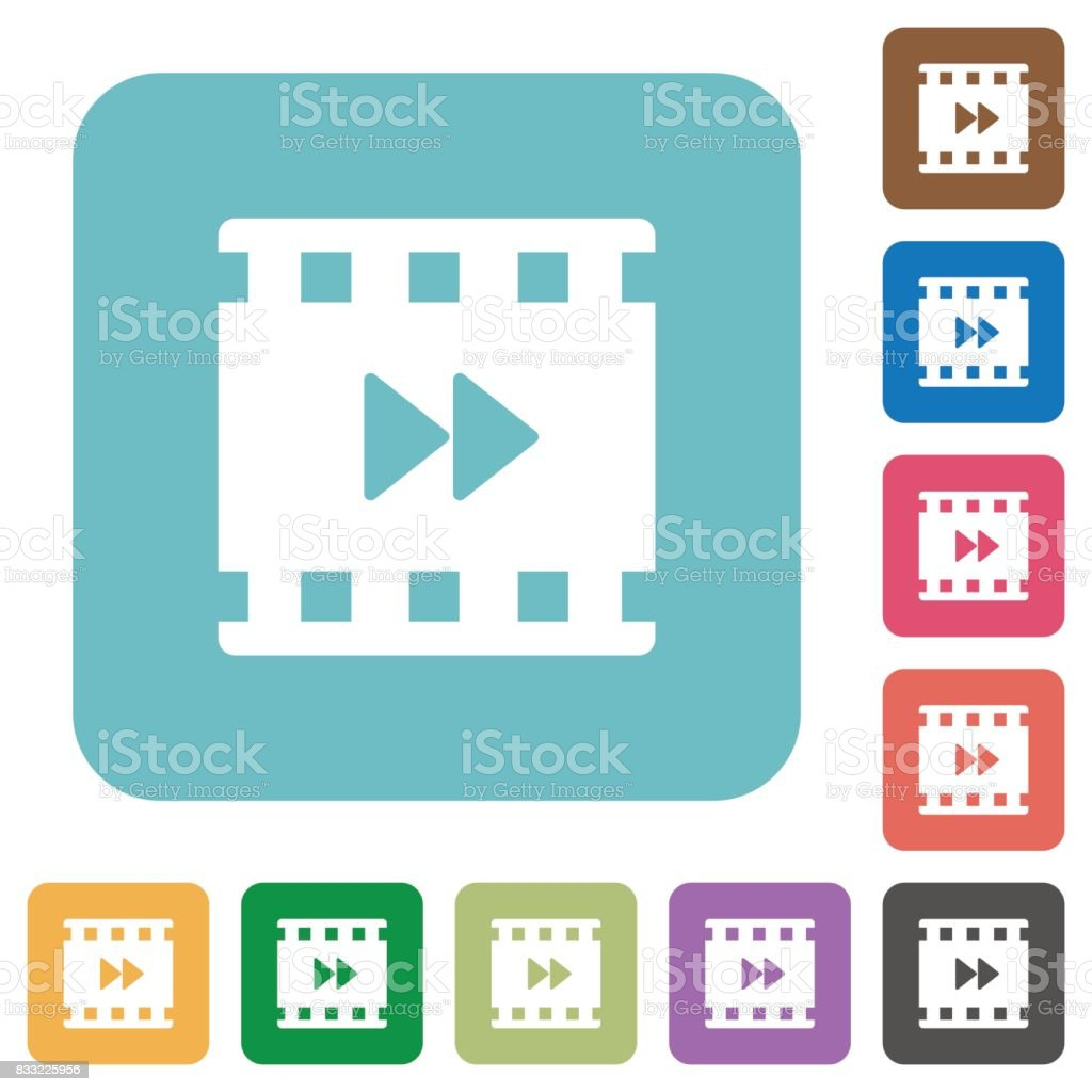 Movie fast forward rounded square flat icons vector art illustration