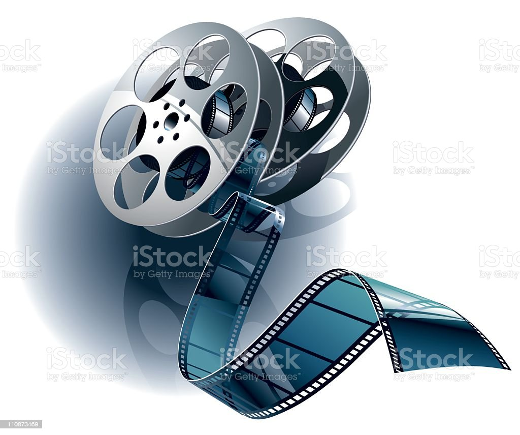 Movie film and canister vector art illustration