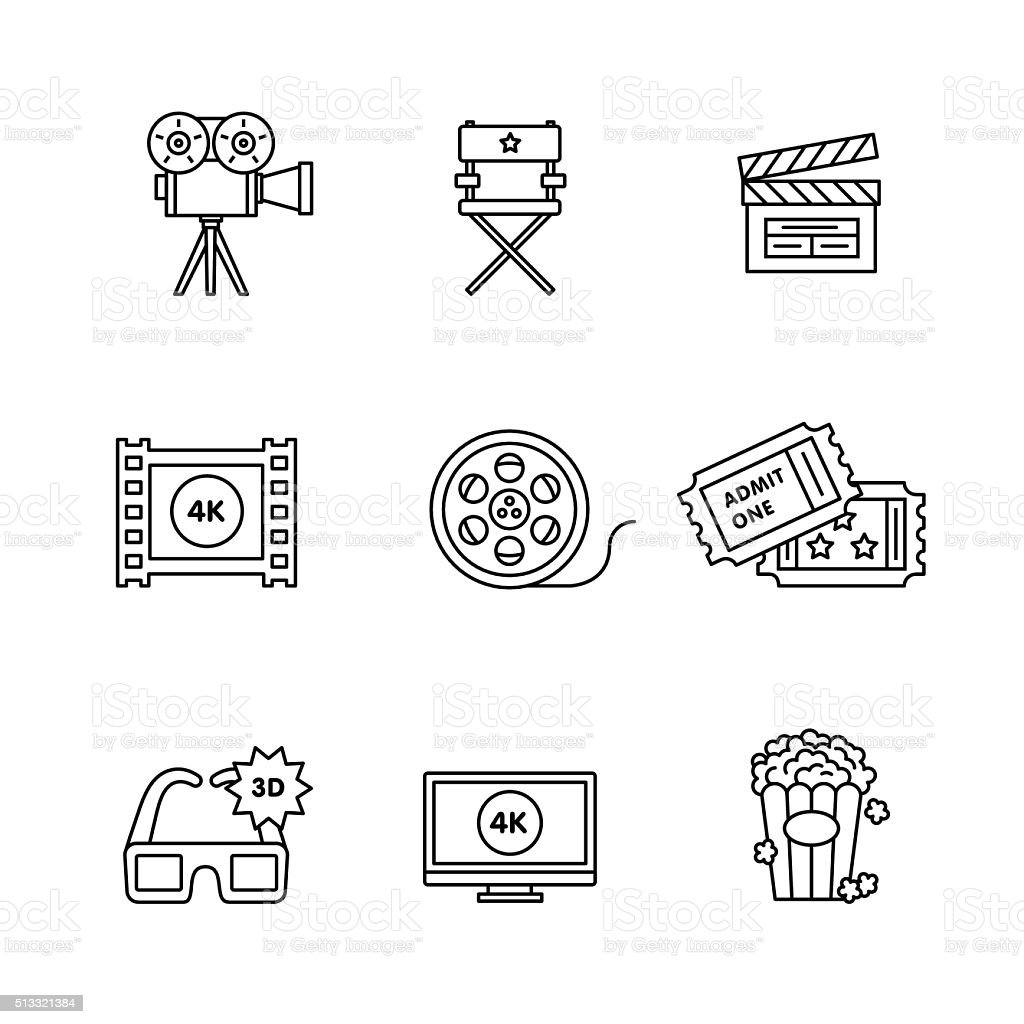Movie, film and video icons thin line art set vector art illustration