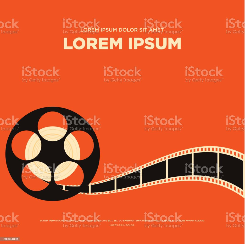 Movie film reel strip vintage poster vector illustration vector art illustration