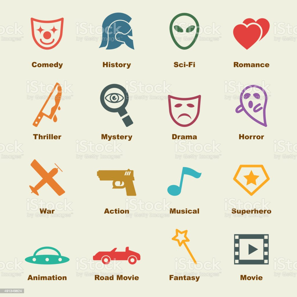 movie genre elements vector art illustration