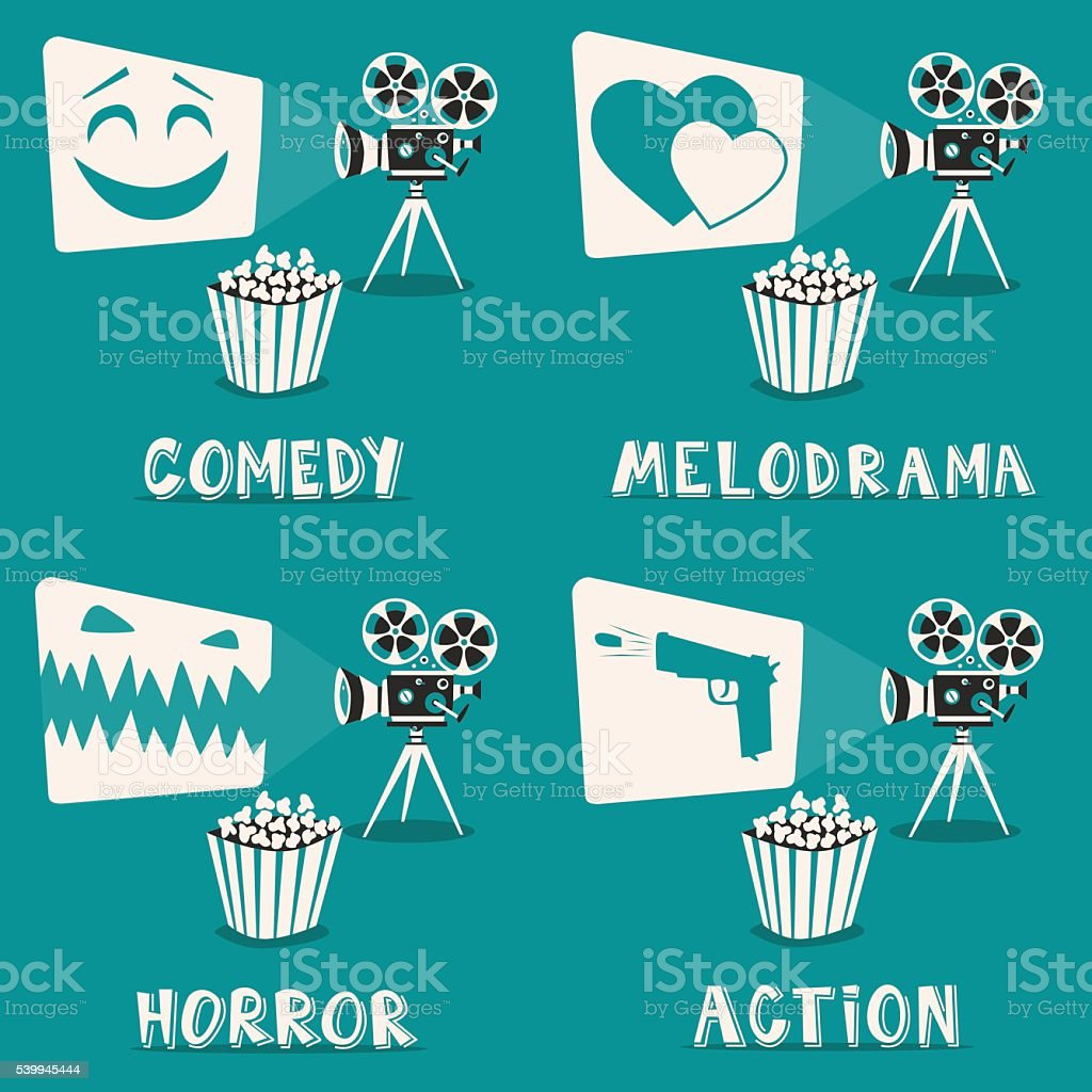 Movie genres poster. Cartoon vector illustration. Film projector and popcorn vector art illustration
