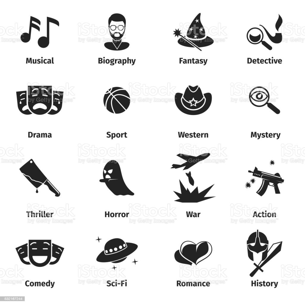 Movie genres vector icons vector art illustration