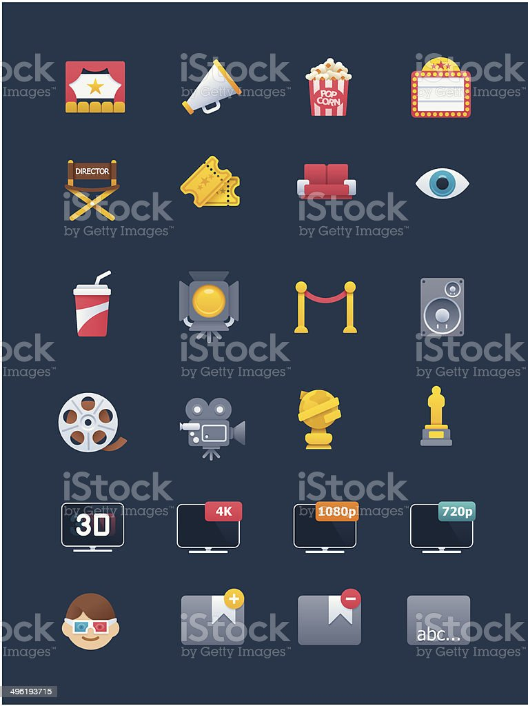 Movie icon set vector art illustration
