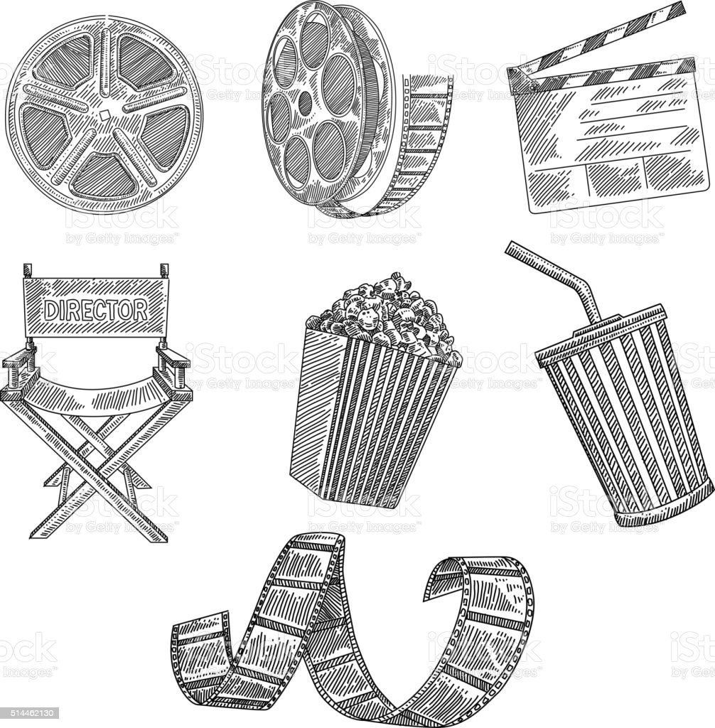 Movie Icons Drawing vector art illustration
