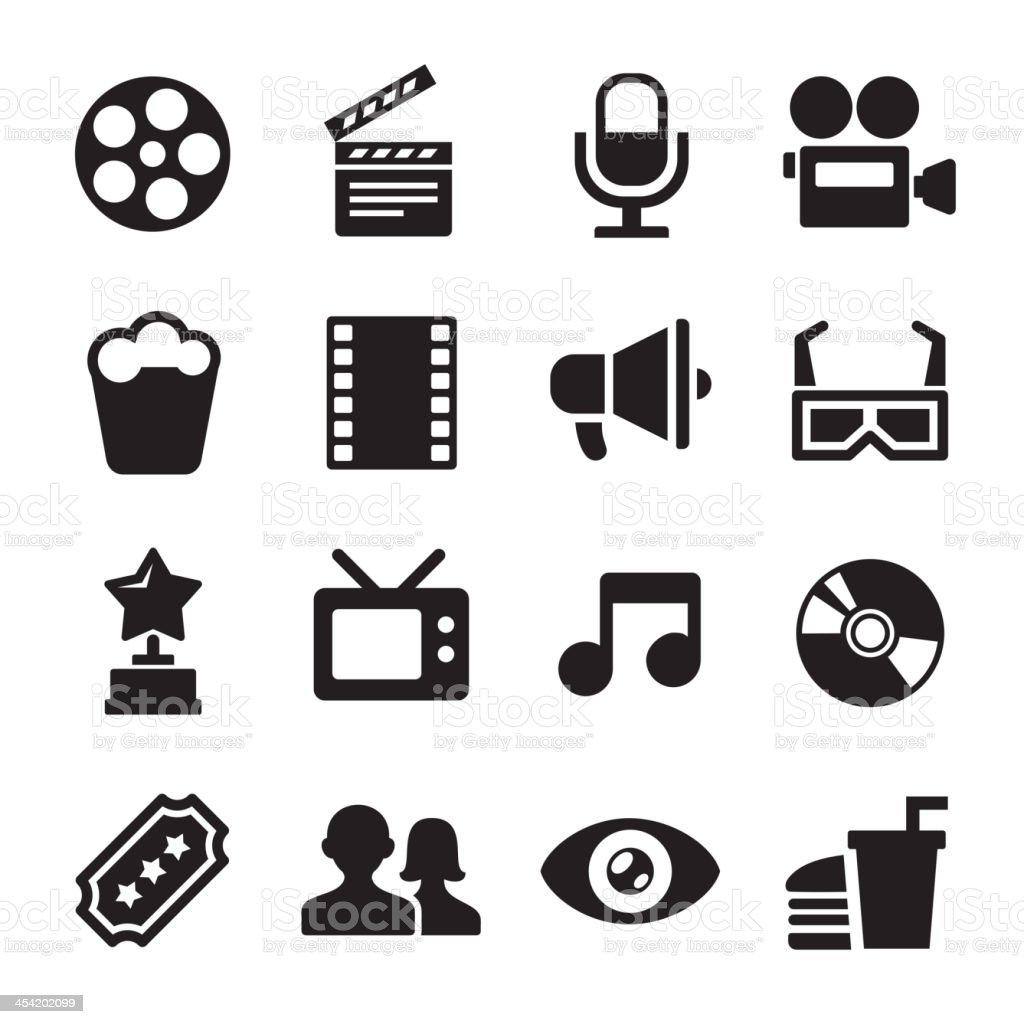 Movie icons set royalty-free stock vector art