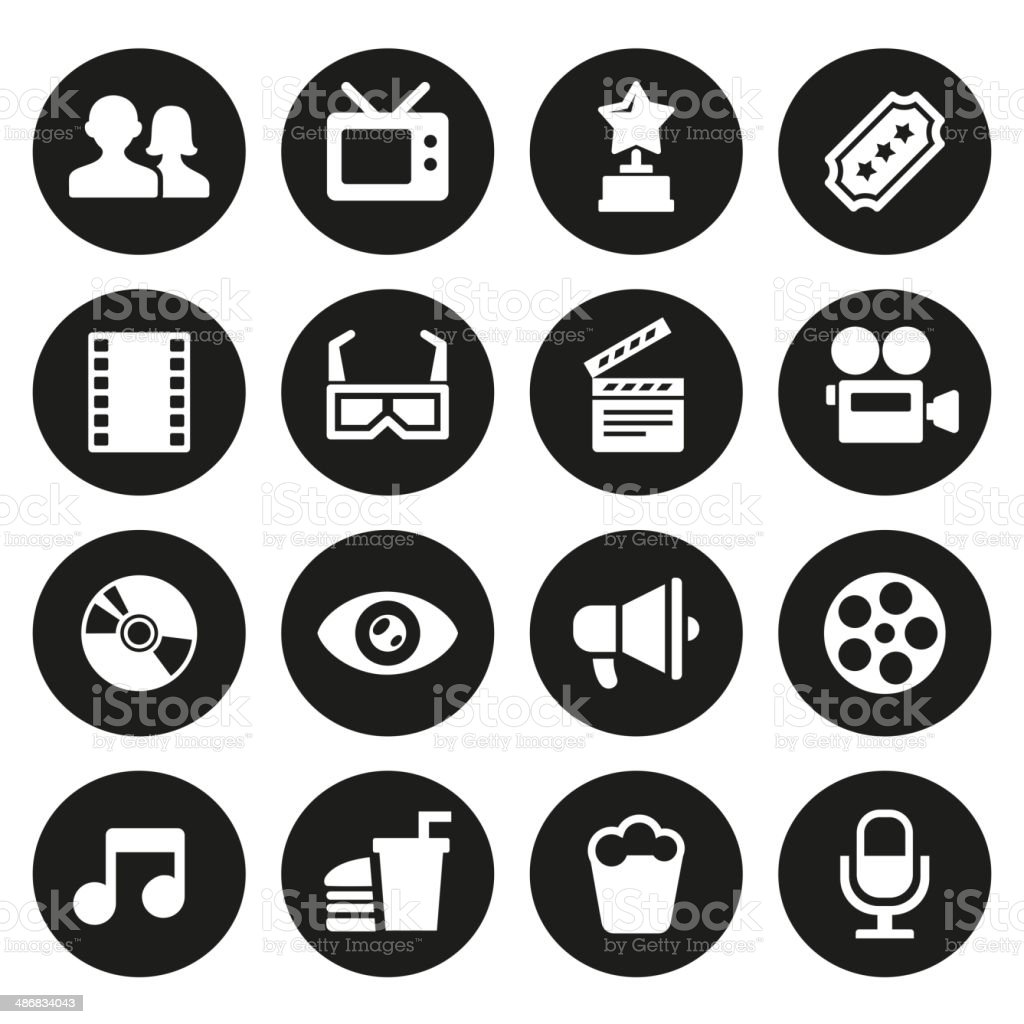Movie icons set royalty-free stock vector art