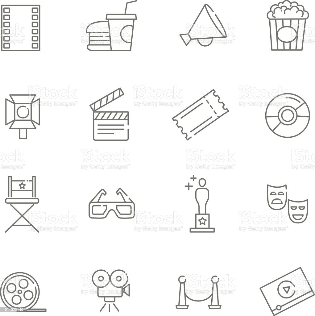 movie icons vector art illustration