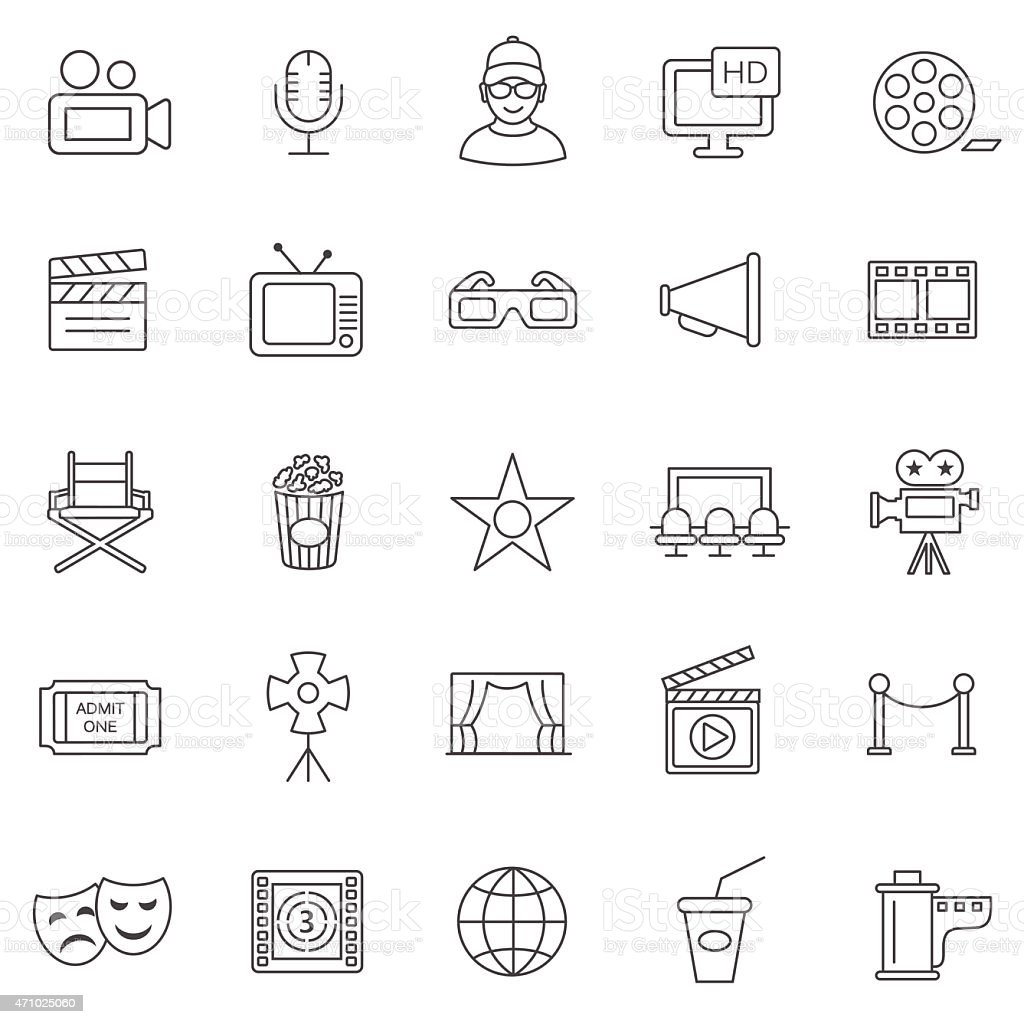Movie line icons set.Vector vector art illustration