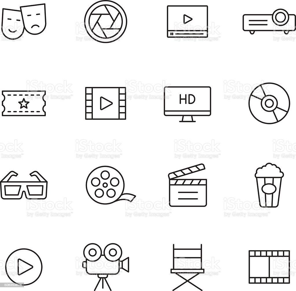 Movie Line Icons vector art illustration