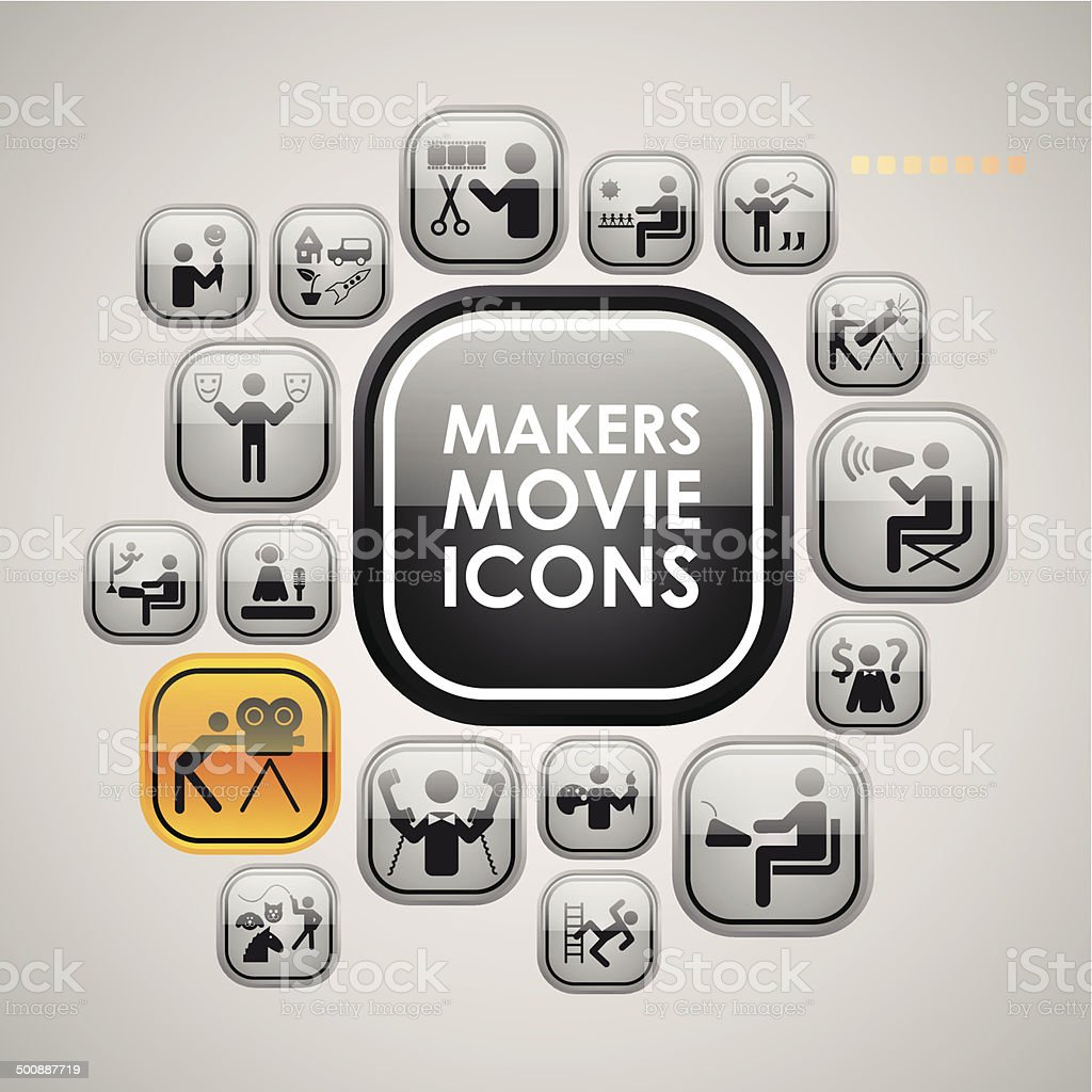 Movie makers icons vector art illustration