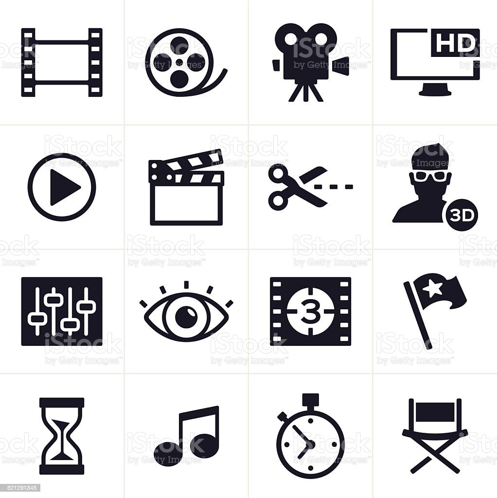 Movie Making and Video Editing Icons vector art illustration