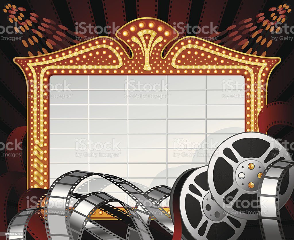 Movie Marquee Frame with Film Reels and Negatives Vector vector art illustration