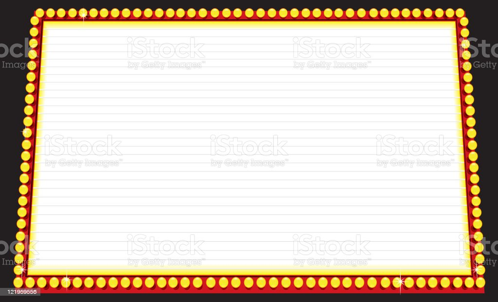 Movie Marquee, rectangular with lit lights royalty-free stock vector art