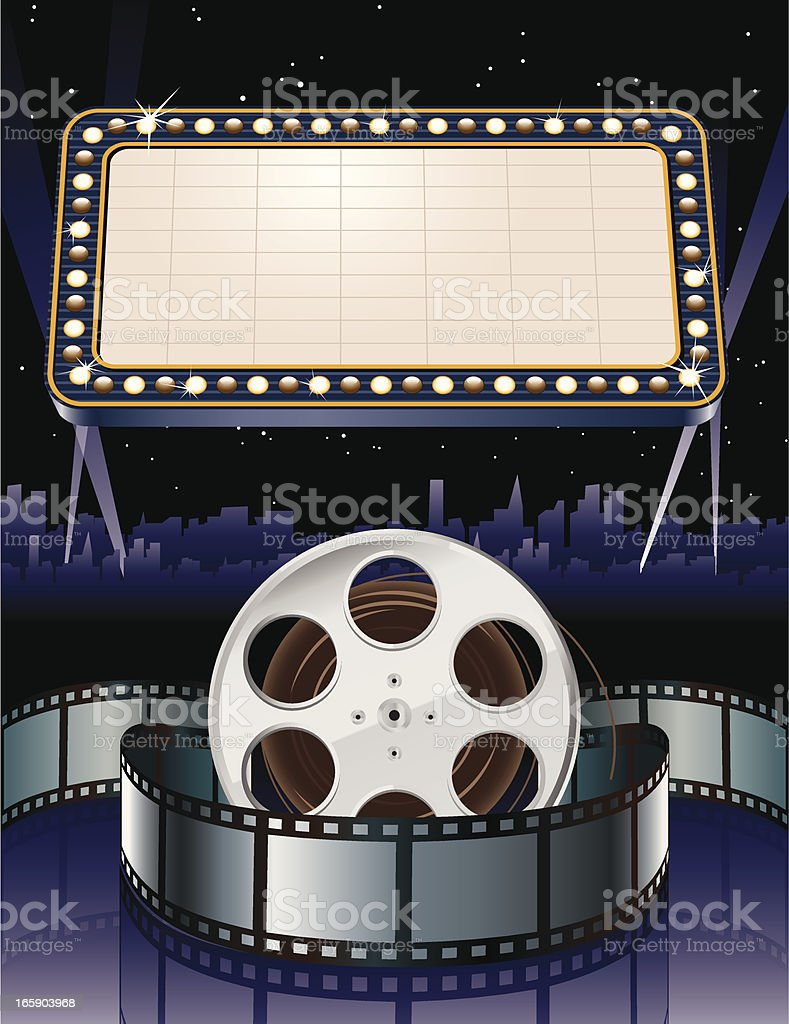 Movie Marquee with Film Reel vector art illustration