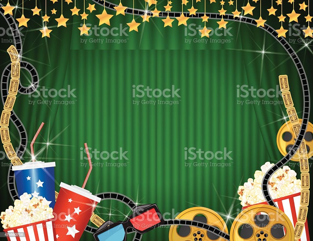 Theater curtains download free vector art stock graphics amp images - Movie Night And Snacks Horizontal Template With Green Curtains Background Royalty Free Stock Vector Art