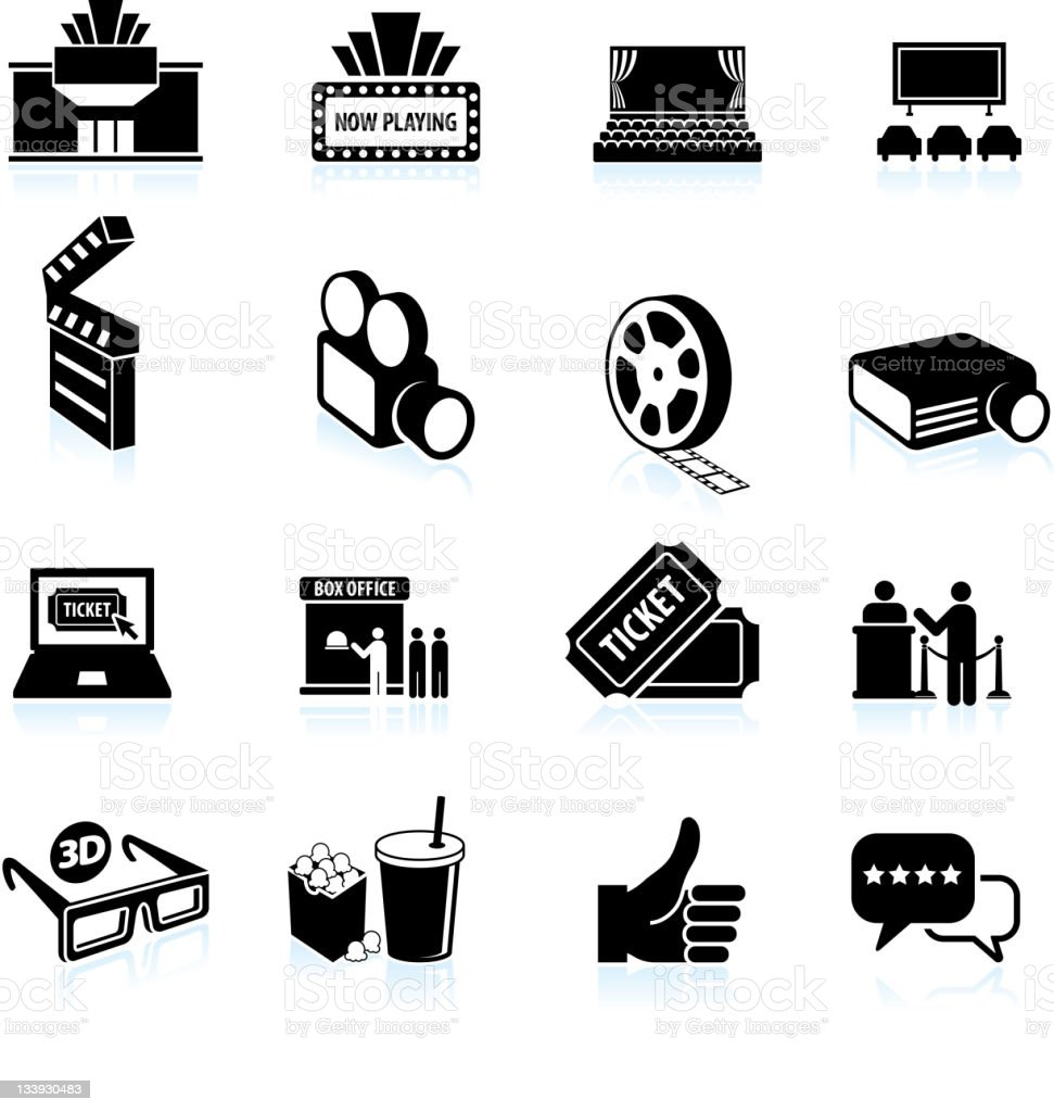 movie night black and white royalty free vector icon set vector art illustration