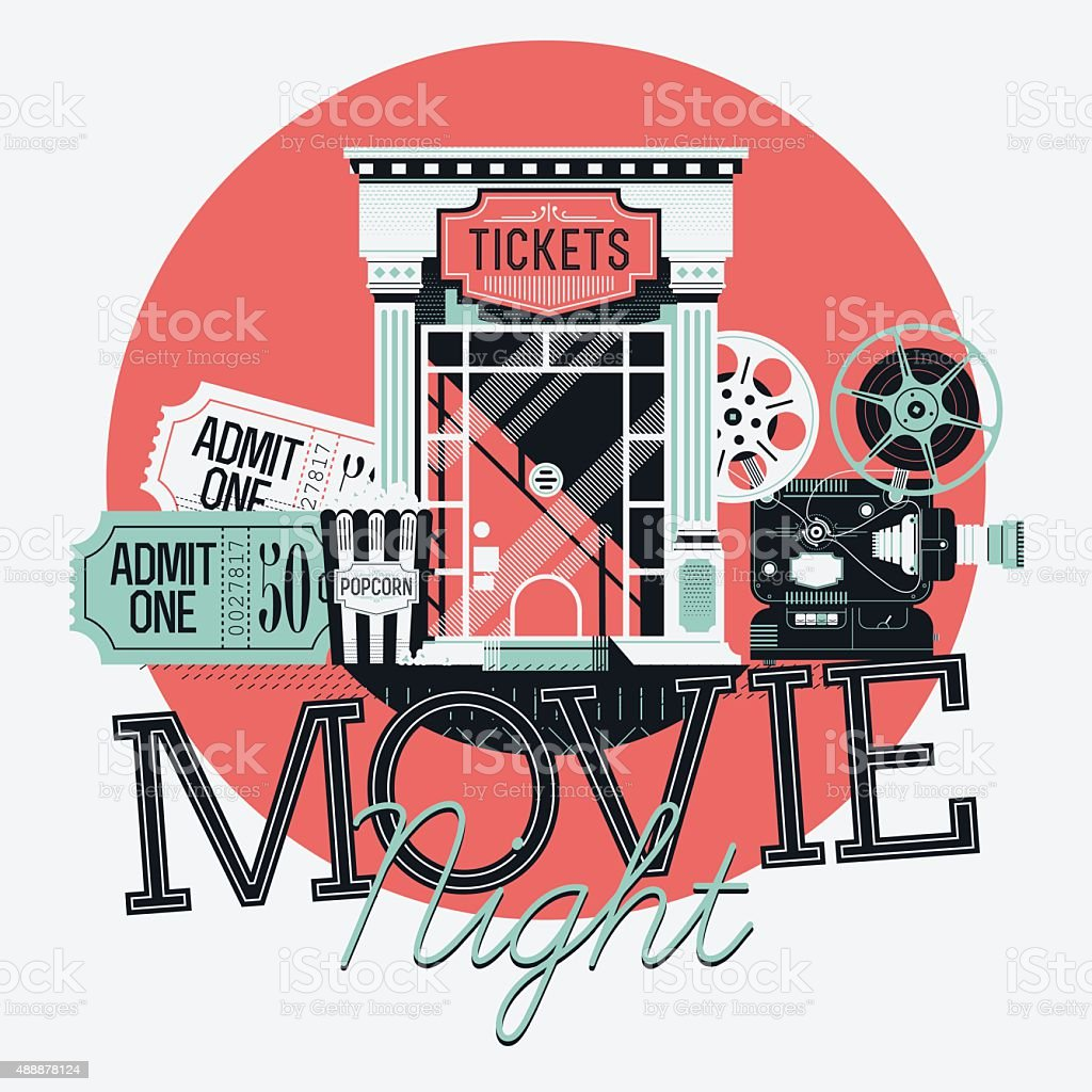 Movie Night detailed illustration vector art illustration