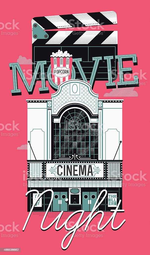 Movie Night event concept design with cinema theater building facade vector art illustration