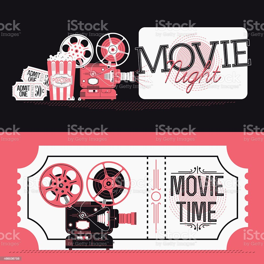 Movie Night event web banners or print flyer design elements vector art illustration