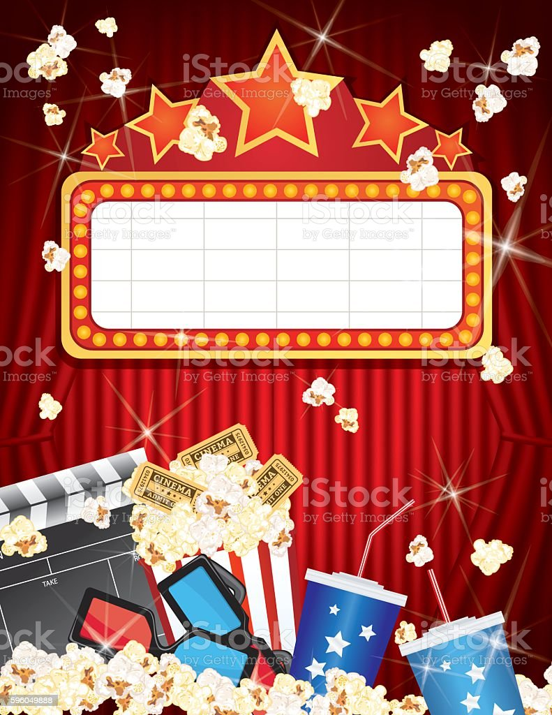Movie Night Party Background With Curtain and Popcorn vector art illustration