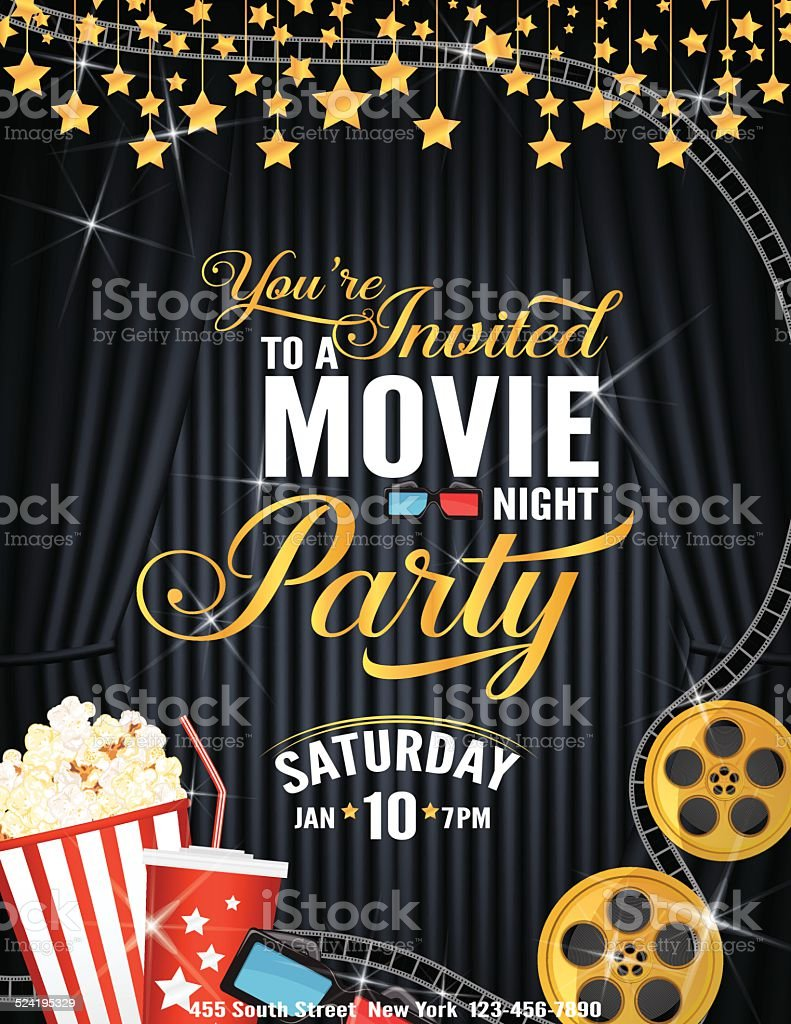 Movie Night Party Invitation Template With Black Curtain and Film vector art illustration