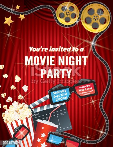 movie night party invitation template with curtain and film の