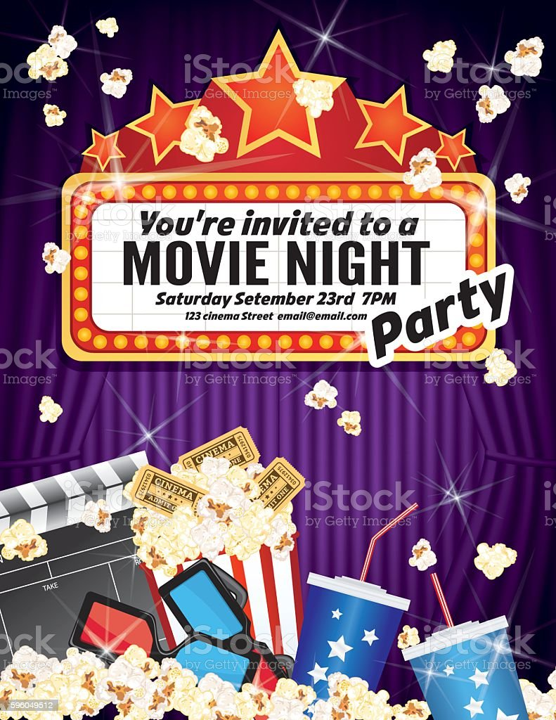 Movie Night Party Invitation Template With Curtain and Film vector art illustration