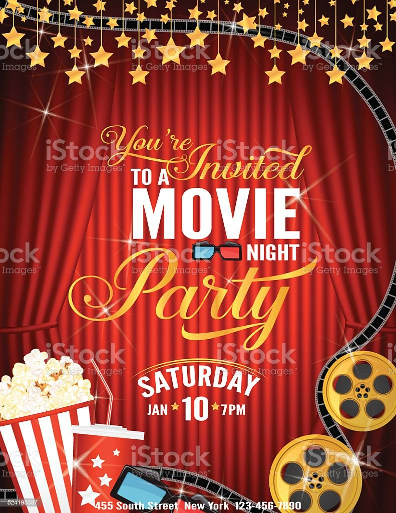 Movie Night Party Invitation Template With Red Curtain and Film vector art illustration