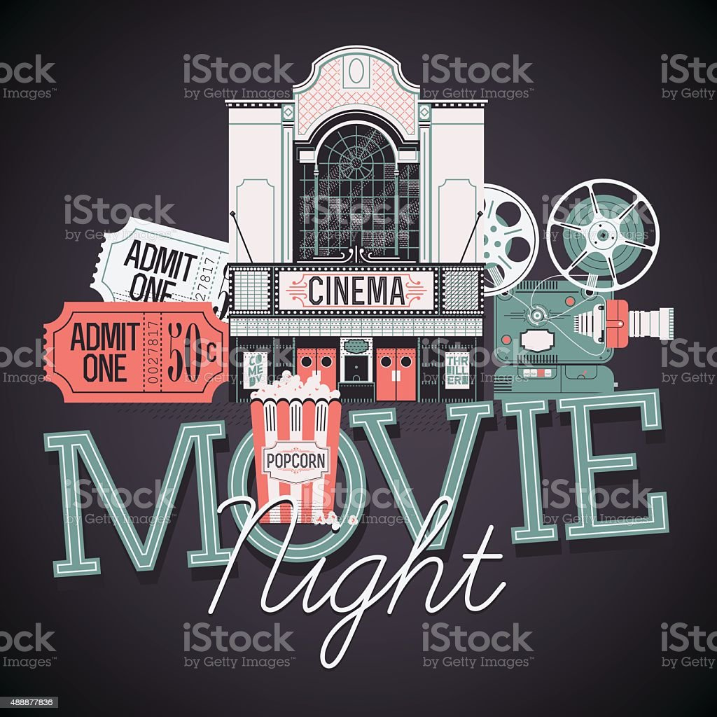 Movie Night poster template vector art illustration