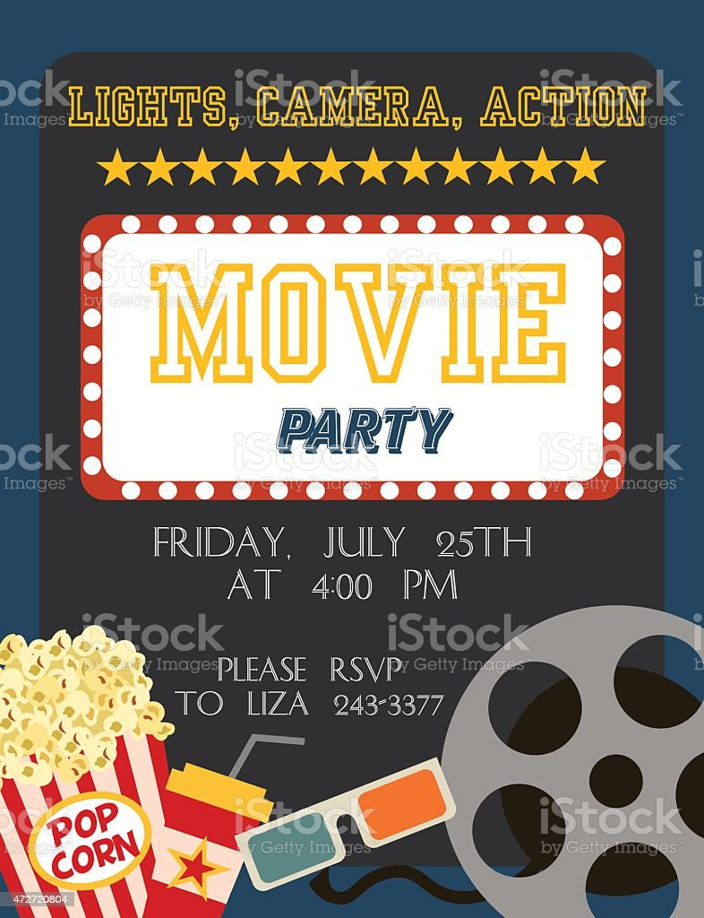 Movie party vector art illustration