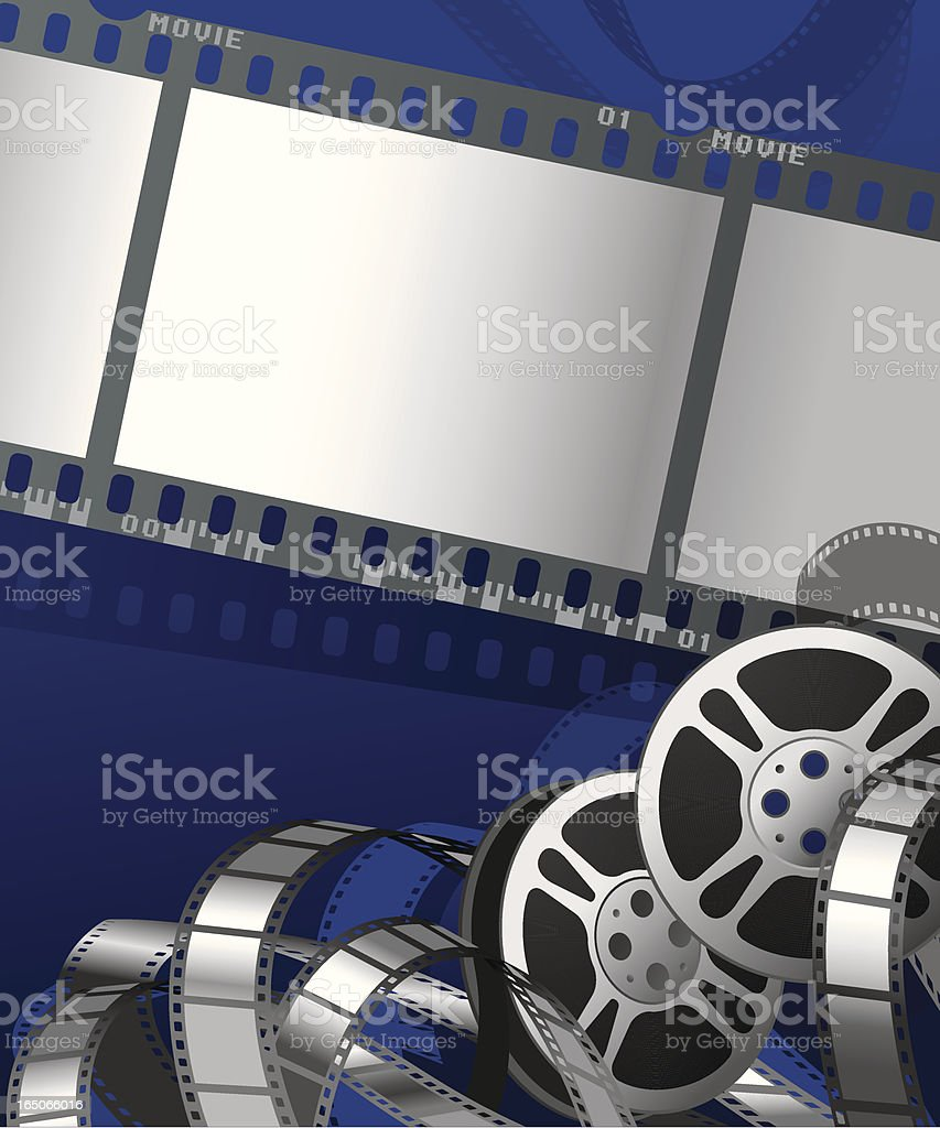 Movie Poster with Film Reels and Negative Stripes Vector royalty-free stock vector art