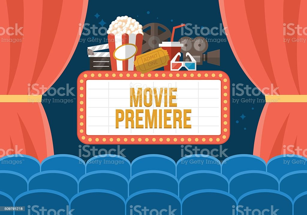 Movie premiere poster deisgn with cinema curtains, seats and sign vector art illustration