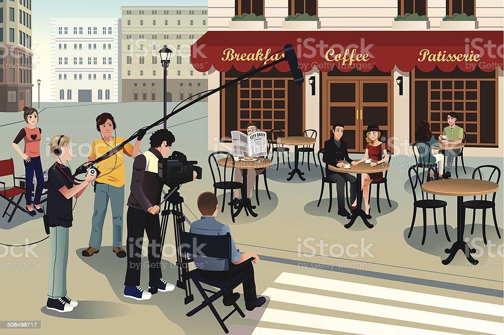 Movie production scene vector art illustration