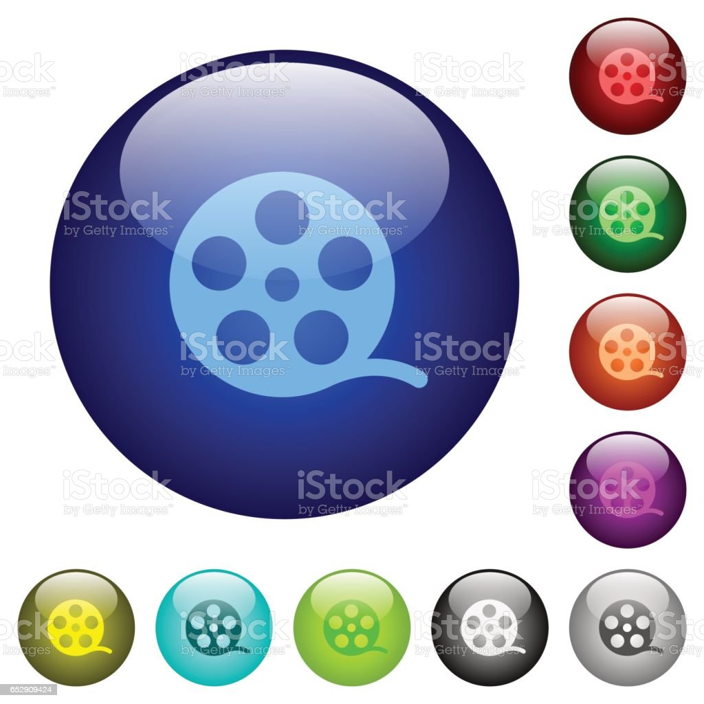 Movie roll color glass buttons vector art illustration