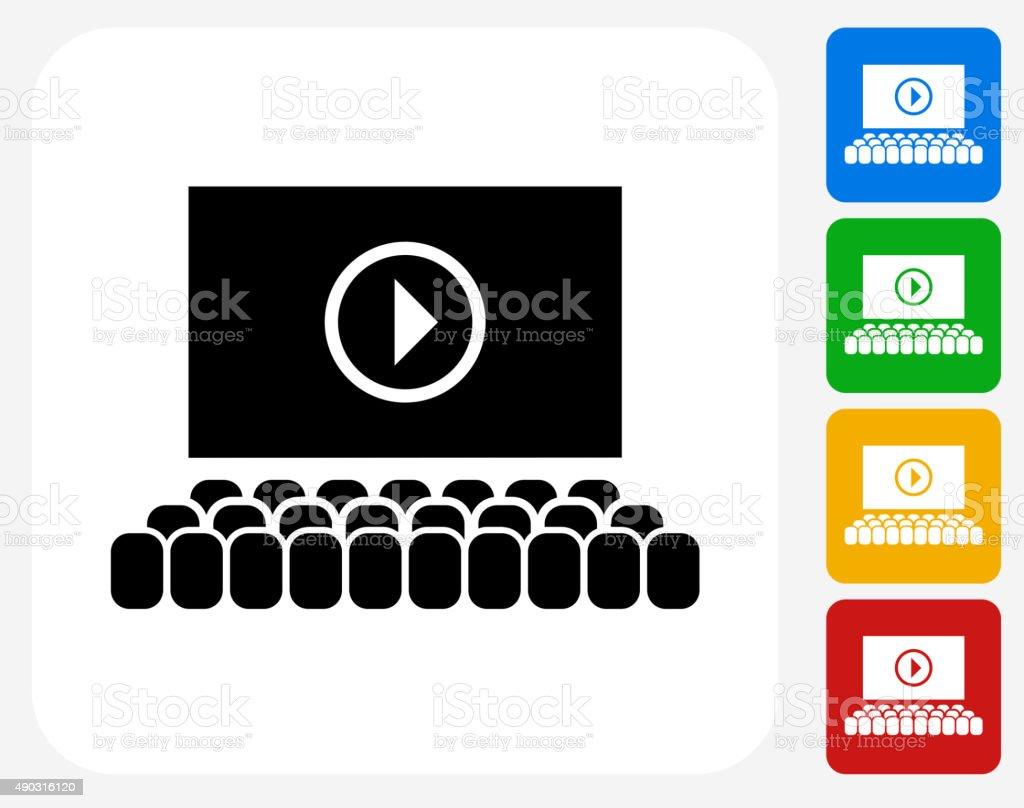 Movie Screen Icon Flat Graphic Design vector art illustration