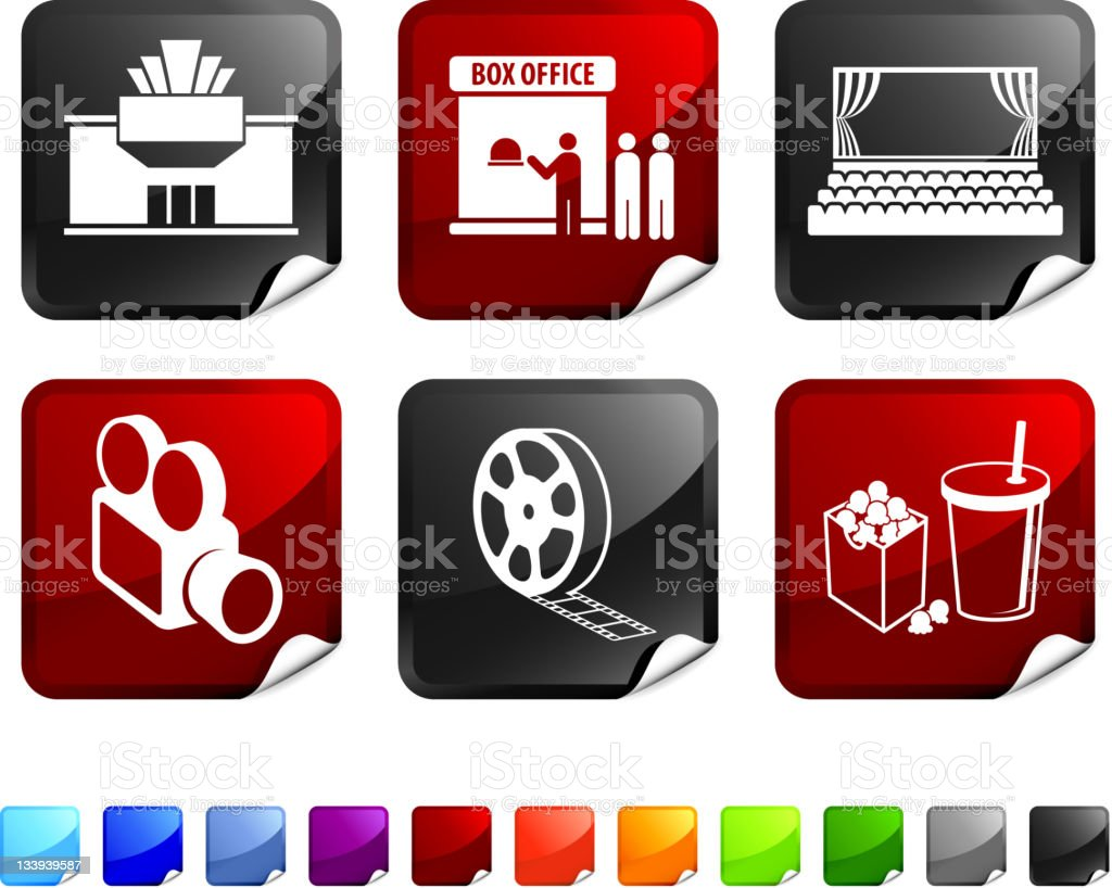 movie theater royalty free vector icon set stickers vector art illustration
