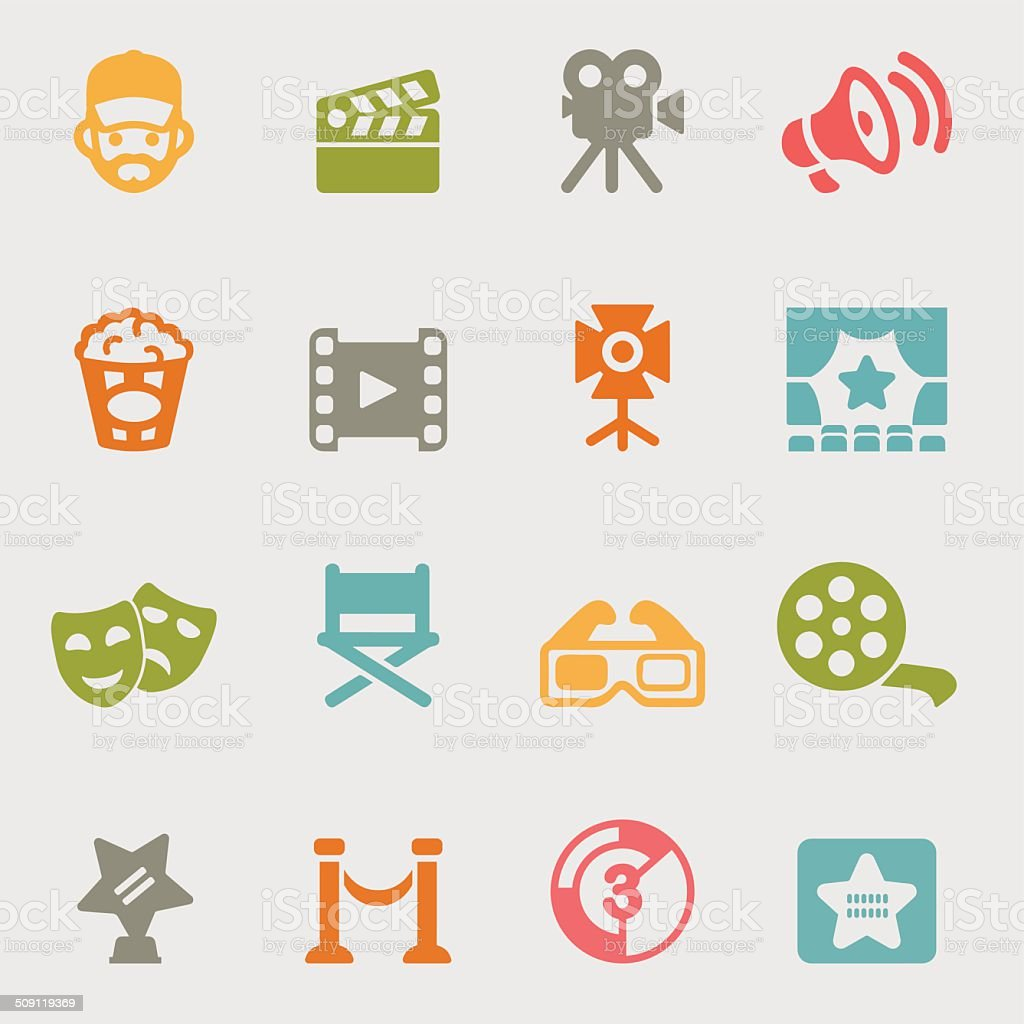 Movie variety color icons | EPS10 vector art illustration
