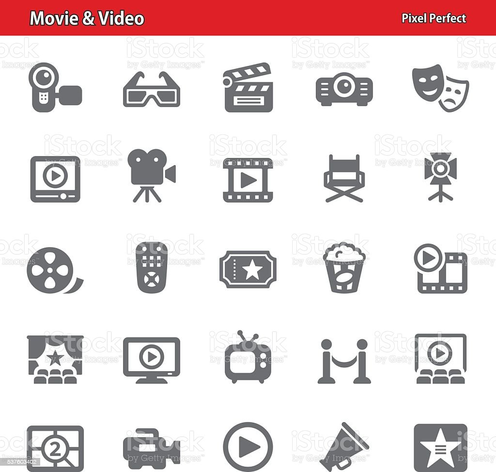 Movie & Video Icons vector art illustration