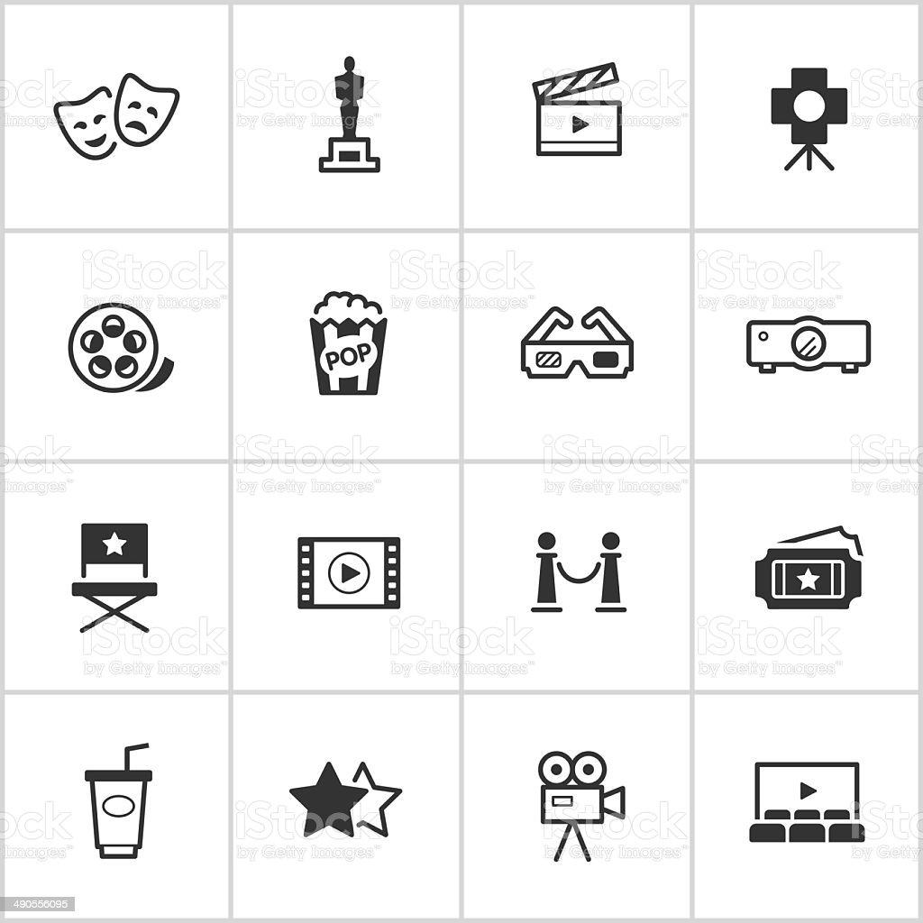 Movies & Cinema Icons — Inky Series vector art illustration