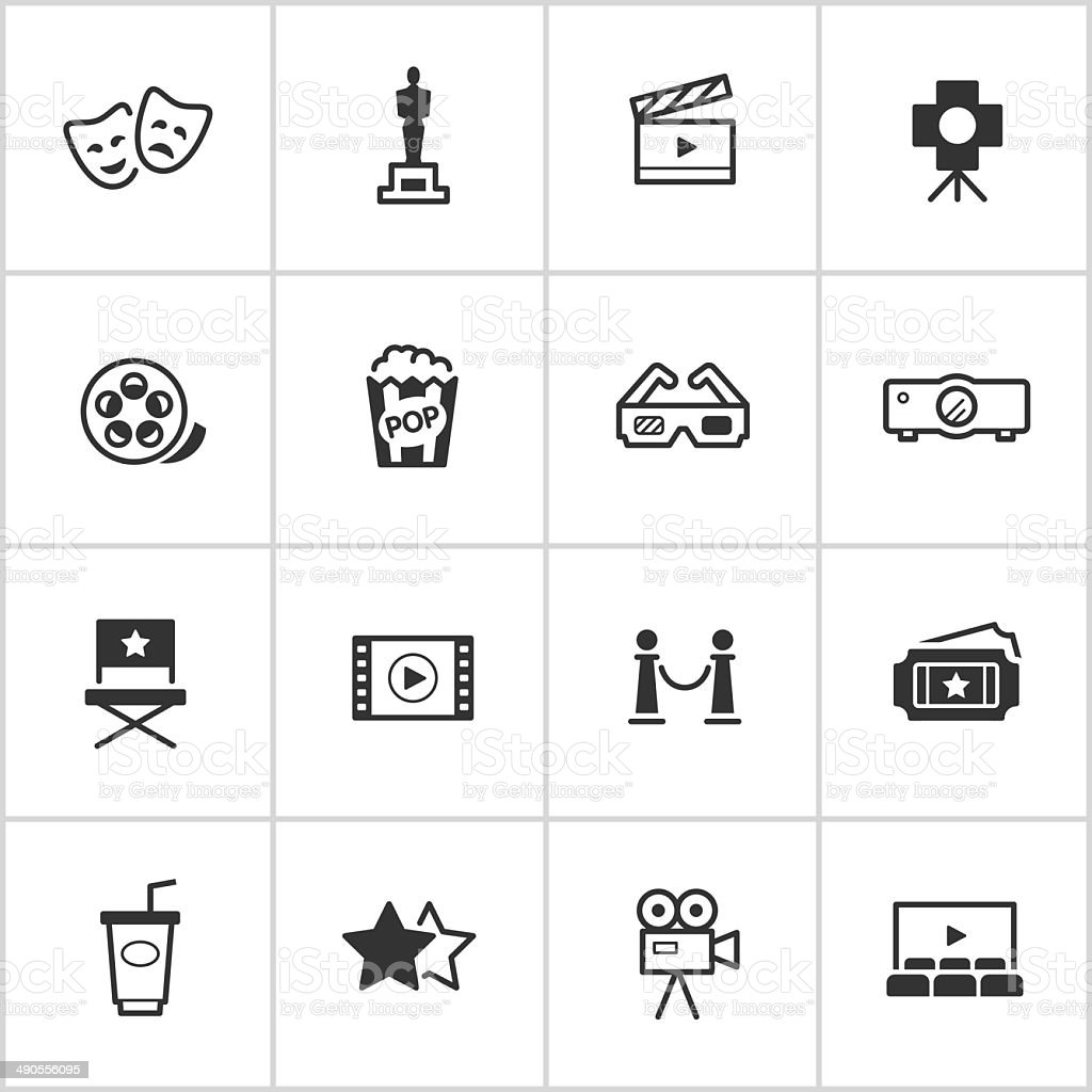 Movies & Cinema Icons — Inky Series vector art illustration
