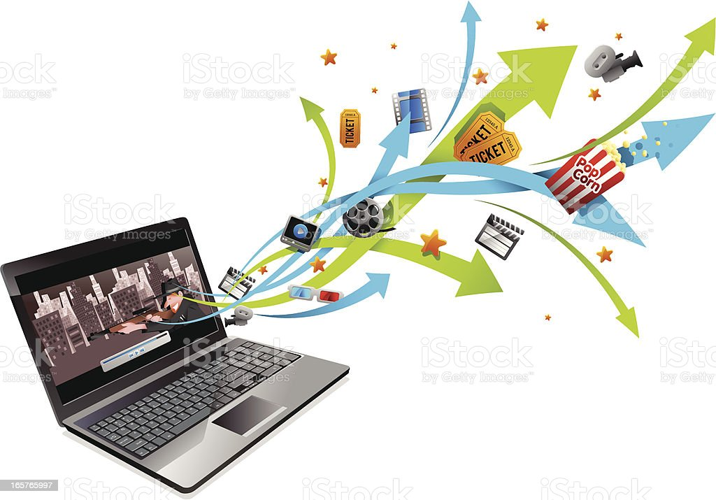 movies on Laptop royalty-free stock vector art